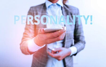 Word writing text Personality. Business photo showcasing combination characteristics that form individuals character Business concept with mobile phone and business woman 版權商用圖片