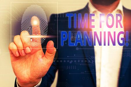 Text sign showing Time For Planning. Business photo showcasing exercising conscious control spent on specific activities Male human wear formal work suit presenting presentation using smart device Stok Fotoğraf