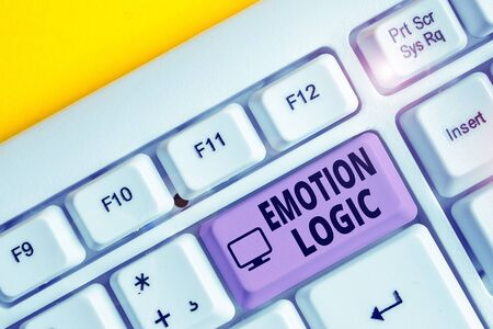 Writing note showing Emotion Logic. Business concept for Heart or Brain Soul or Intelligence Confusion Equal Balance White pc keyboard with note paper above the white background