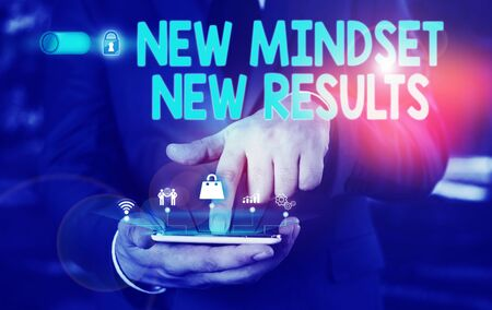 Conceptual hand writing showing New Mindset New Results. Concept meaning obstacles are opportunities to reach achievement Male wear formal suit presenting presentation smart device