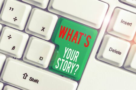 Text sign showing What S Is Your Story question. Business photo showcasing being asked by someone about my own journey from beginning till now White pc keyboard with empty note paper above white background key copy space