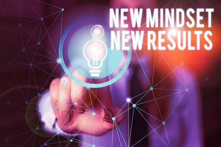 Word writing text New Mindset New Results. Business photo showcasing obstacles are opportunities to reach achievement Female human wear formal work suit presenting presentation use smart device