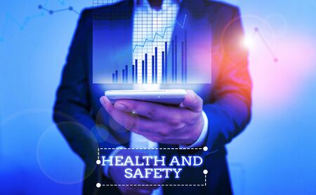 Text sign showing Health And Safety. Business photo text procedures intended to prevent accident in workplace bar char improvement line smartphone computer office technology device