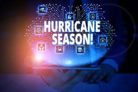 Writing note showing Hurricane Season. Business concept for time when most tropical cyclones are expected to develop Male wear formal work suit presenting presentation smart device Stock fotó