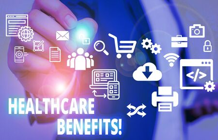 Text sign showing Healthcare Benefits. Business photo text monthly fair market valueprovided to Employee dependents Male human wear formal work suit presenting presentation using smart device