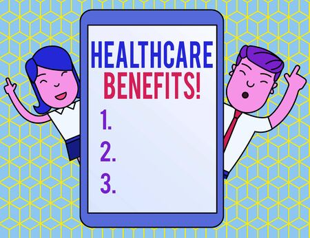 Text sign showing Healthcare Benefits. Business photo text monthly fair market valueprovided to Employee dependents Male and Female Index Fingers Up Touch Screen Tablet Smartphone Device