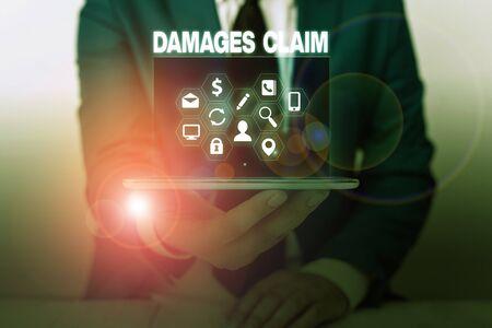 Textschild mit Schadensersatzanspruch. Business foto Präsentation Deanalysisd Compensation Rechtsstreitigkeiten Versicherung Datei Klage