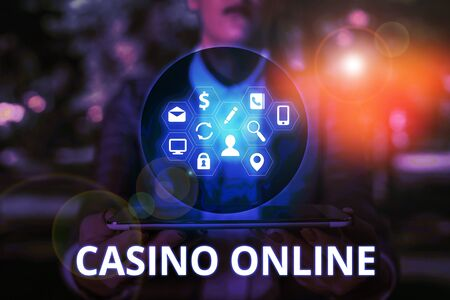 Text sign showing Casino Online. Business photo text Computer Poker Game Gamble Royal Bet Lotto High Stakes