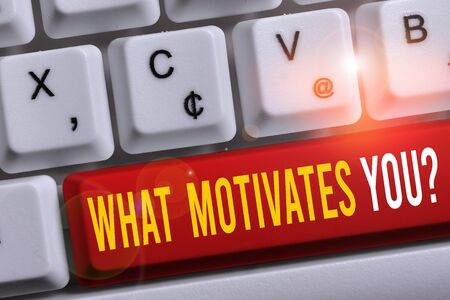 Word writing text What Motivates Youquestion. Business photo showcasing know reasons why you want to wake up each morning White pc keyboard with empty note paper above white background key copy space
