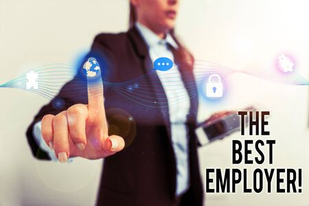 Text sign showing The Best Employer. Business photo text created workplace showing feel heard and empowered Female human wear formal work suit presenting presentation use smart device Zdjęcie Seryjne