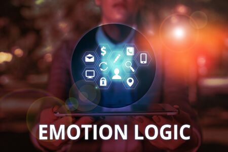Text sign showing Emotion Logic. Business photo text Heart or Brain Soul or Intelligence Confusion Equal Balance