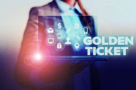Handwriting text writing Golden Ticket. Conceptual photo Rain Check Access VIP Passport Box Office Seat Event