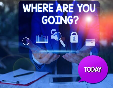 Text sign showing Where Are You Goingquestion. Business photo text used to ask someone the destination headed to man icons smartphone speech bubble office supplies technological device Foto de archivo - 131763049