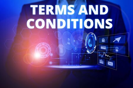 Text sign showing Terms And Conditions. Business photo text rules that apply to fulfilling a particular contract Male human wear formal work suit presenting presentation using smart device