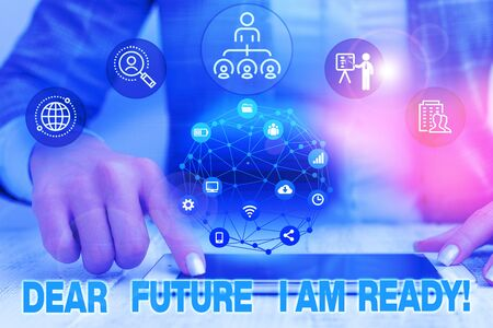 Text sign showing Dear Future I Am Ready. Business photo text suitable state for action or situation being fully prepared Female human wear formal work suit presenting presentation use smart device Stock fotó