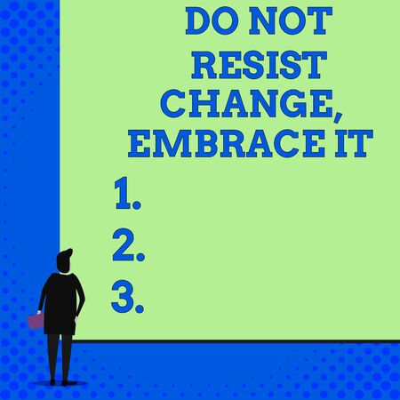 Conceptual hand writing showing Do Not Resist Change Embrace It. Concept meaning Be open to changes try new things Positive Woman watching blank big rectangle. Geometrical background Stok Fotoğraf