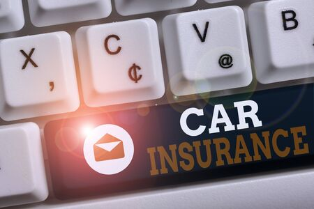 Word writing text Car Insurance. Business photo showcasing Accidents coverage Comprehensive Policy Motor Vehicle Guaranty White pc keyboard with empty note paper above white background key copy space
