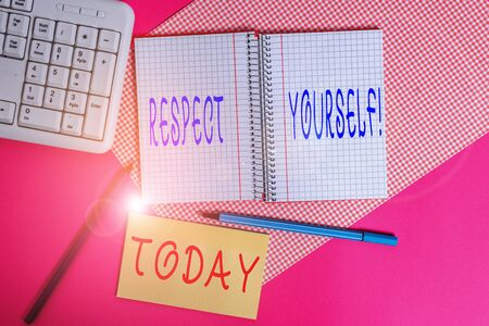 Text sign showing Respect Yourself. Business photo text believing that you good and worthy being treated well Writing equipments and computer stuffs placed above colored plain table Stok Fotoğraf