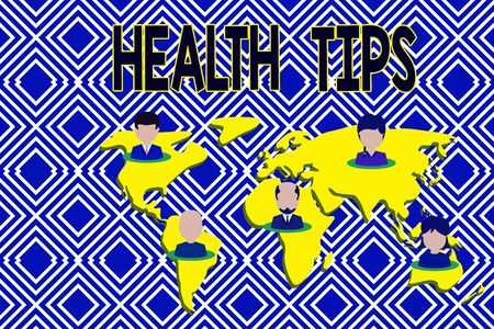 Text sign showing Health Tips. Business photo showcasing advice or information given to be helpful in being healthy Connection multiethnic persons all over world. Global business earth map
