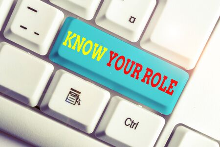 Text sign showing Know Your Role. Business photo showcasing end acting outside who you actually are Play your position White pc keyboard with empty note paper above white background key copy space