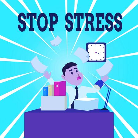 Text sign showing Stop Stress. Business photo showcasing Seek help Take medicines Spend time with loveones Get more sleep Confused Male Employee Manager Cluttered Workspace Overflow Time Shortage Reklamní fotografie
