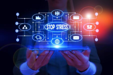 Text sign showing Stop Stress. Business photo showcasing Seek help Take medicines Spend time with loveones Get more sleep Woman wear formal work suit presenting presentation using smart device