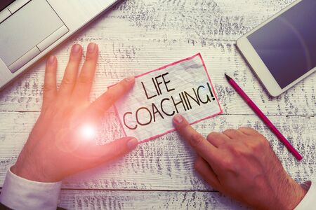 Conceptual hand writing showing Life Coaching. Concept meaning demonstrating employed to help showing attain their goals in career Stok Fotoğraf