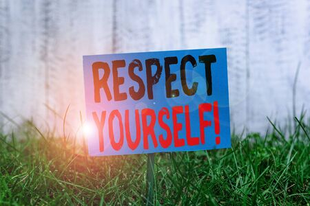 Handwriting text Respect Yourself. Conceptual photo believing that you good and worthy being treated well Plain empty paper attached to a stick and placed in the green grassy land Фото со стока