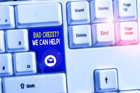 Word writing text Bad Creditquestion We Can Help. Business photo showcasing offerr help to gain positive payment history White pc keyboard with empty note paper above white background key copy space