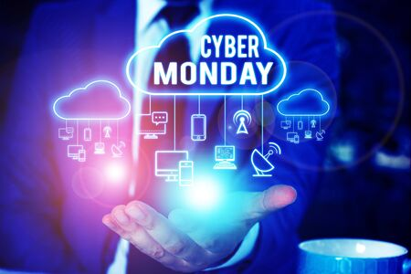 Writing note showing Cyber Monday. Business concept for Marketing term for Monday after thanksgiving holiday in the US Male wear formal work suit presenting presentation smart device Stockfoto