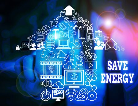 Handwriting text writing Save Energy. Conceptual photo decreasing the amount of power used achieving a similar outcome Woman wear formal work suit presenting presentation using smart device
