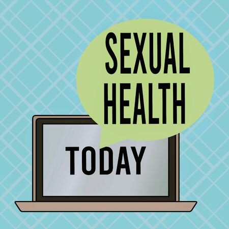 Conceptual hand writing showing Sexual Health. Concept meaning positive and respectful approach to sexual relationships Round Shape Speech Bubble Floating Over Laptop Backdrop