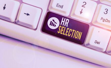Writing note showing Hr Selection. Business concept for Process and approached by huanalysis resources when hiring employees White pc keyboard with note paper above the white background