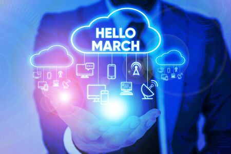 Handwriting text Hello March. Conceptual photo musical composition usually in duple or quadruple with beat Male human wear formal work suit presenting presentation using smart device Stockfoto