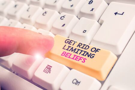 Writing note showing Get Rid Of Limiting Beliefs. Business concept for remove negative beliefs and think positively White pc keyboard with note paper above the white background
