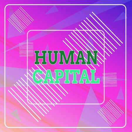 Word writing text Huanalysis Capital. Business photo showcasing Intangible Collective Resources Competence Capital Education Geometric Background Pastel Pink 12 Dash Squares SemiTransparent Triangles