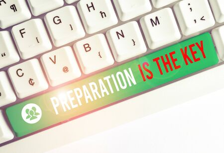 Writing note showing Preparation Is The Key. Business concept for it reduces errors and shortens the activities White pc keyboard with note paper above the white background