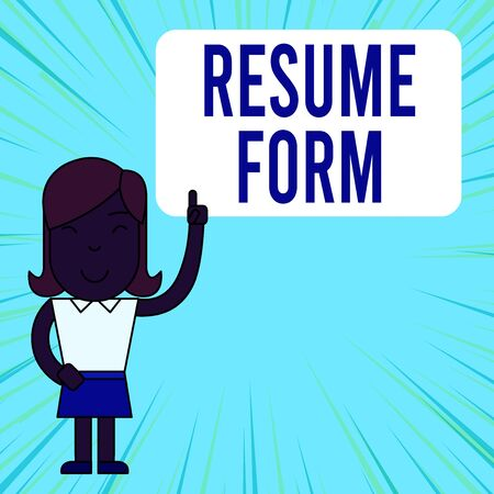 Text sign showing Resume Form. Business photo showcasing describe the layout elements appearing in written document Woman Standing with Raised Left Index Finger Pointing at Blank Text Box