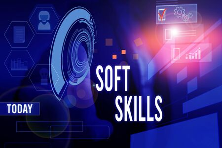 Conceptual hand writing showing Soft Skills. Concept meaning demonstratingal attribute enable interact effectively with other showing Woman wear work suit presenting presentation smart device