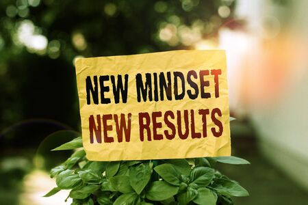 Word writing text New Mindset New Results. Business photo showcasing obstacles are opportunities to reach achievement Plain empty paper attached to a stick and placed in the green leafy plants