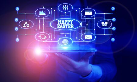 Conceptual hand writing showing Happy Easter. Concept meaning Christian feast commemorating the resurrection of Jesus Woman wear work suit presenting presentation smart device 版權商用圖片 - 131851509