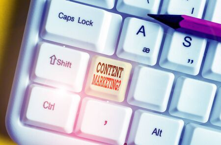 Text sign showing Content Marketing Question. Business photo showcasing involves creation and sharing of online material White pc keyboard with empty note paper above white background key copy space Stok Fotoğraf