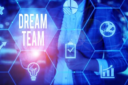 Conceptual hand writing showing Dream Team. Concept meaning Prefered unit or group that make the best out of a demonstrating Female human wear formal work suit presenting smart device
