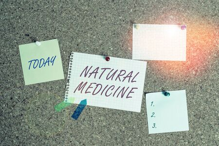 Writing note showing Natural Medicine. Business concept for any of various systems of healing or treating disease Corkboard size paper thumbtack sheet billboard notice board