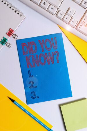 Conceptual hand writing showing Did You Know Question. Concept meaning when you are asking someone if they know fact or event Colored paper binder clip sheets white desk empty space