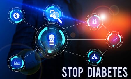 Conceptual hand writing showing Stop Diabetes. Concept meaning Blood Sugar Level is higher than normal Inject Insulin Woman wear work suit presenting presentation smart device Stok Fotoğraf