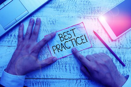 Conceptual hand writing showing Best Practice. Concept meaning commercial procedures that are accepted prescribed being correct 写真素材