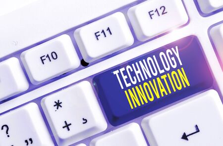 Writing note showing Technology Innovation. Business concept for significant technological changes of products White pc keyboard with note paper above the white background