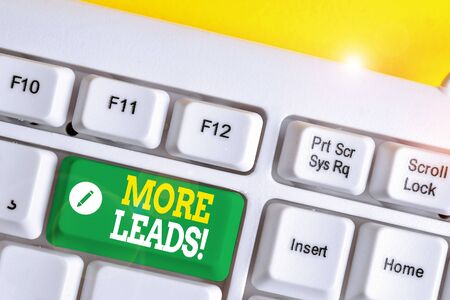 Text sign showing More Leads. Business photo showcasing initiation of consumer interest or enquiry into product White pc keyboard with empty note paper above white background key copy space Stok Fotoğraf