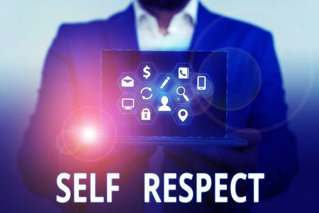 Conceptual hand writing showing Self Respect. Concept meaning Pride and confidence in oneself Stand up for yourself Imagens